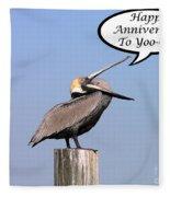 Pelican Anniversary Card Fleece Blanket