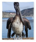 Pelican At Avila Beach Ca Fleece Blanket