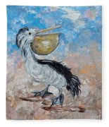 Pelican Beach Walk - Impressionist Fleece Blanket
