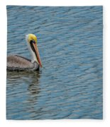 Pelican Drifting On Rippled Water Fleece Blanket