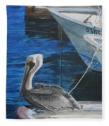 Pelican On A Boat Fleece Blanket