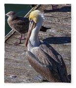Pelican On Dock Fleece Blanket