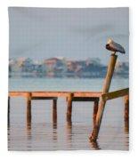Pelican Sleeping On Sound At Angle Fleece Blanket