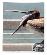 Pelican Yawn - Digital Painting Fleece Blanket