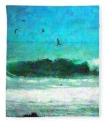Pelicans Enjoying The Mighty Pacific Impressionism Fleece Blanket