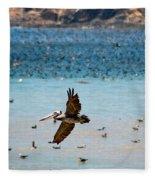 Pelicans Flocking On The Ocean Fleece Blanket