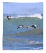 Pelicans Flying Between Waves 3788 Fleece Blanket