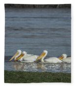 Pelicans In Floodwaters Fleece Blanket