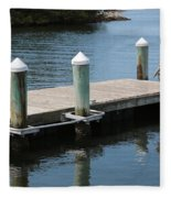 Pelicans On Dock In Florida Fleece Blanket