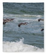 Pelicans Over The Water Fleece Blanket