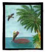 Pelicans Palm Trees Tropical Birds Cathy Peek Fleece Blanket