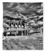 Penarth Pier 6 Monochrome Fleece Blanket