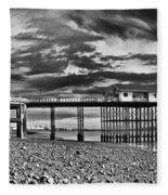 Penarth Pier Panorama Monochrome Fleece Blanket
