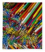 Pencils And Paperclips Fleece Blanket