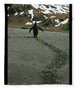 Penguin Travel Poster Fleece Blanket