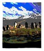 Penguins Line Dance Posterized 2 Fleece Blanket