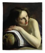 Penitent Magdalen Oil On Canvas Fleece Blanket