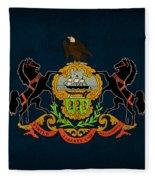 Pennsylvania State Flag Art On Worn Canvas Fleece Blanket