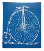 Penny-farthing 1867 High Wheeler Bicycle Blueprint Fleece Blanket