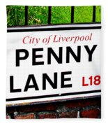 Penny Lane Sign City Of Liverpool England  Fleece Blanket