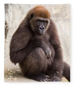Pensive Gorilla Fleece Blanket