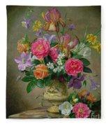 Peonies And Irises In A Ceramic Vase Fleece Blanket