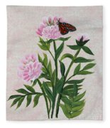 Peonies And Monarch Butterfly Fleece Blanket