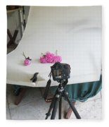 Peonies And Tripod Fleece Blanket