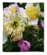 Peonies Bouquet Fleece Blanket