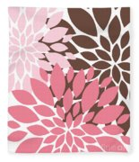 Peony Flowers 009 Fleece Blanket