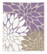 Peony Flowers Fleece Blanket