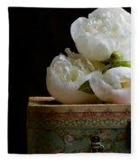 Peony Flowers On Old Hat Box Fleece Blanket