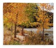 People Fishing In The Rio Grande River Fleece Blanket