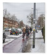 People On Bicycles In Winter Fleece Blanket