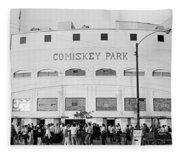 People Outside A Baseball Park, Old Fleece Blanket