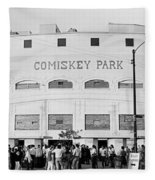 People Outside A Baseball Park, Old Fleece Blanket