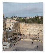 People Praying At At Western Wall Fleece Blanket
