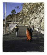 People Walking On The Path Leading To Shrine Of Vaishno Devi Fleece Blanket