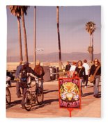 People Walking On The Sidewalk, Venice Fleece Blanket