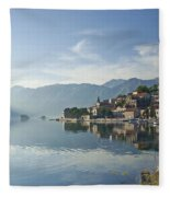 Perast Village In The Bay Of Kotor In Montenegro  Fleece Blanket