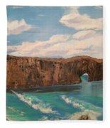 Perce Rock Gaspe  Quebec Fleece Blanket