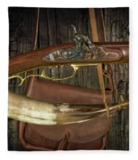 Percussion Cap And Ball Rifle With Powder Horn And Possibles Bag Fleece Blanket