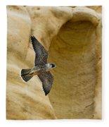 Peregrine Falcon Flying By Cliff Fleece Blanket