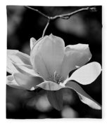 Perfect Bloom Magnolia In White Fleece Blanket