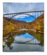 Perfect Reflections Of The New River Gorge Bridge Fleece Blanket