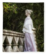 Period Lady On Bridge Fleece Blanket