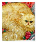 Persian Cat On A Cushion Fleece Blanket