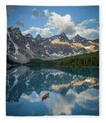 Person In Canoe On Moraine Lake, Banff Fleece Blanket