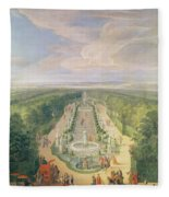 Perspective View Of The Grove From The Galerie Des Antiques At Versailles, 1688 Oil On Canvas Fleece Blanket