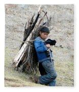 Peruvian Boy Gathers Wood Fleece Blanket